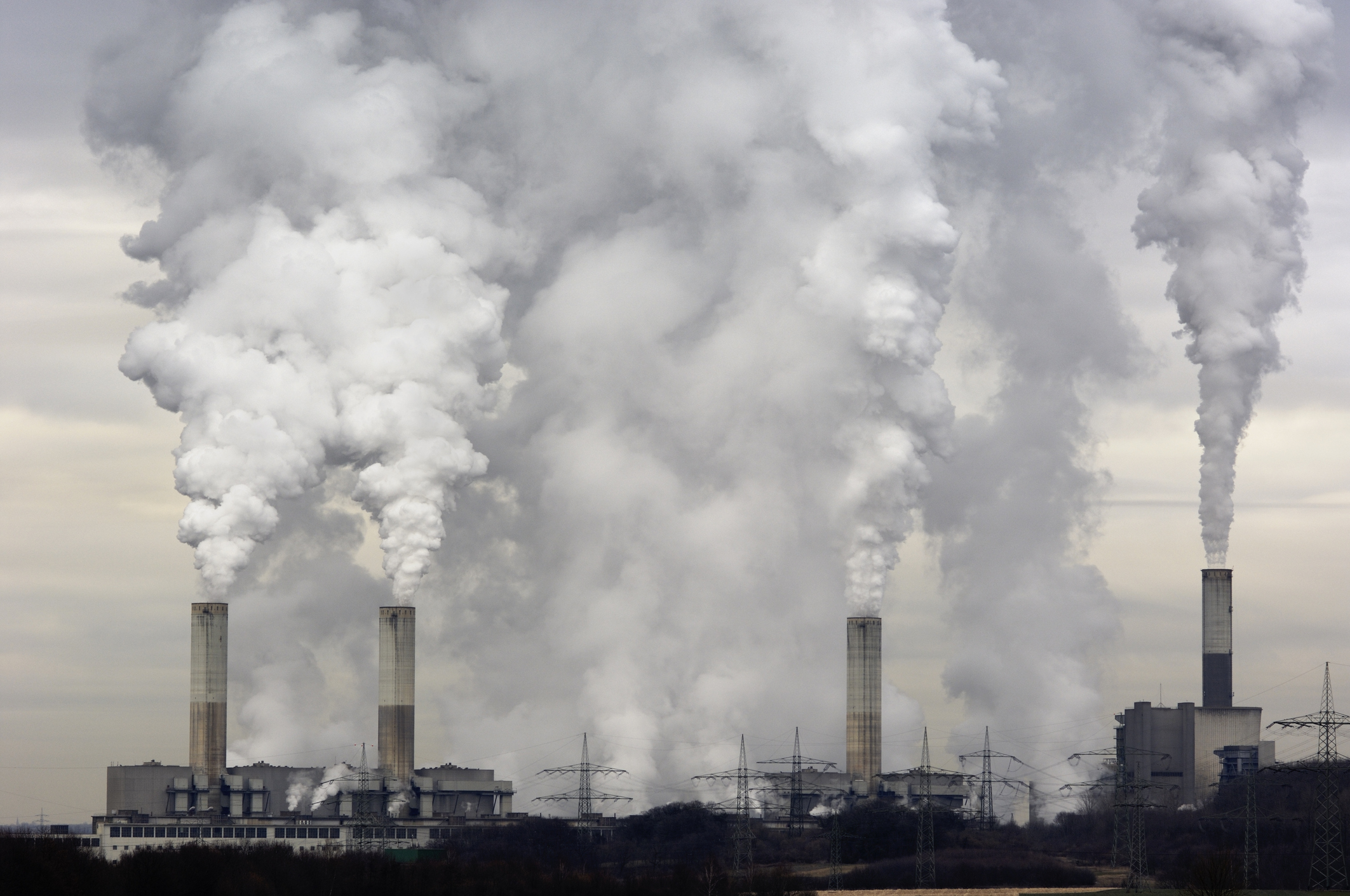 Industrial Chimneys with smoke raising