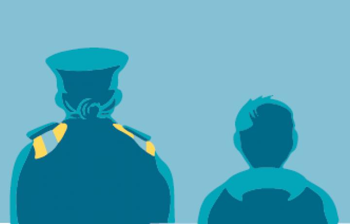 Policewoman and child illustration