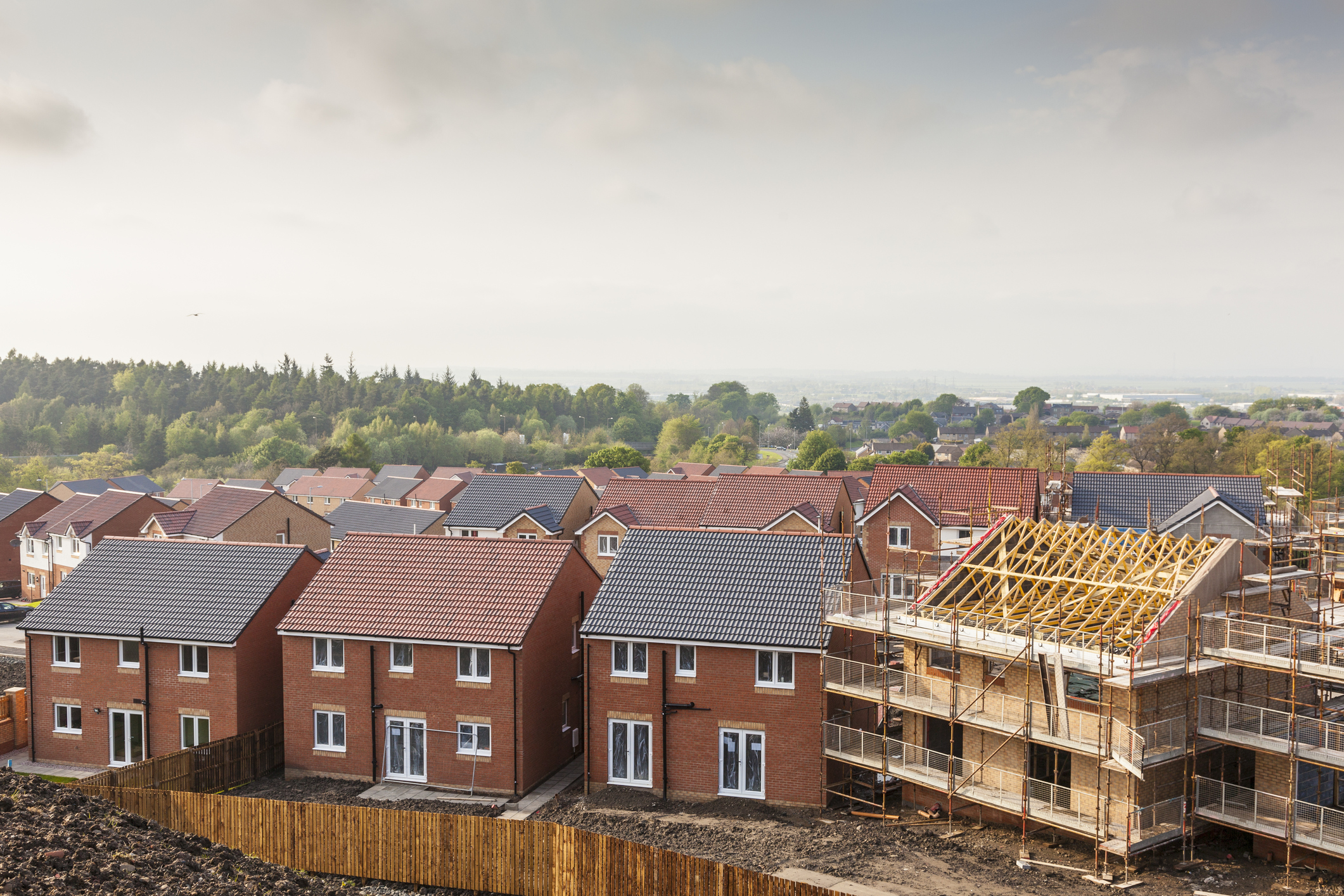 New houses being built in a new development
