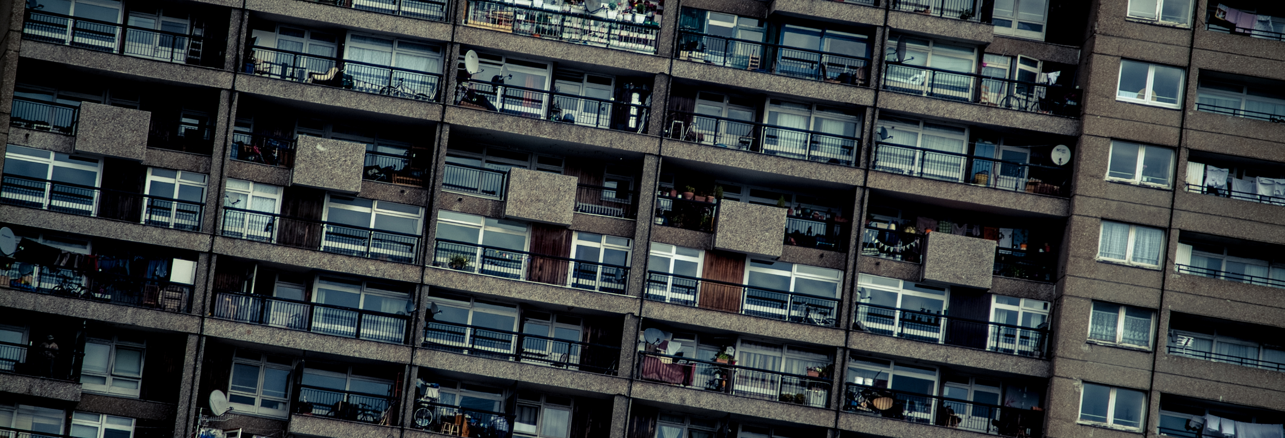 densely populated flats with balconies