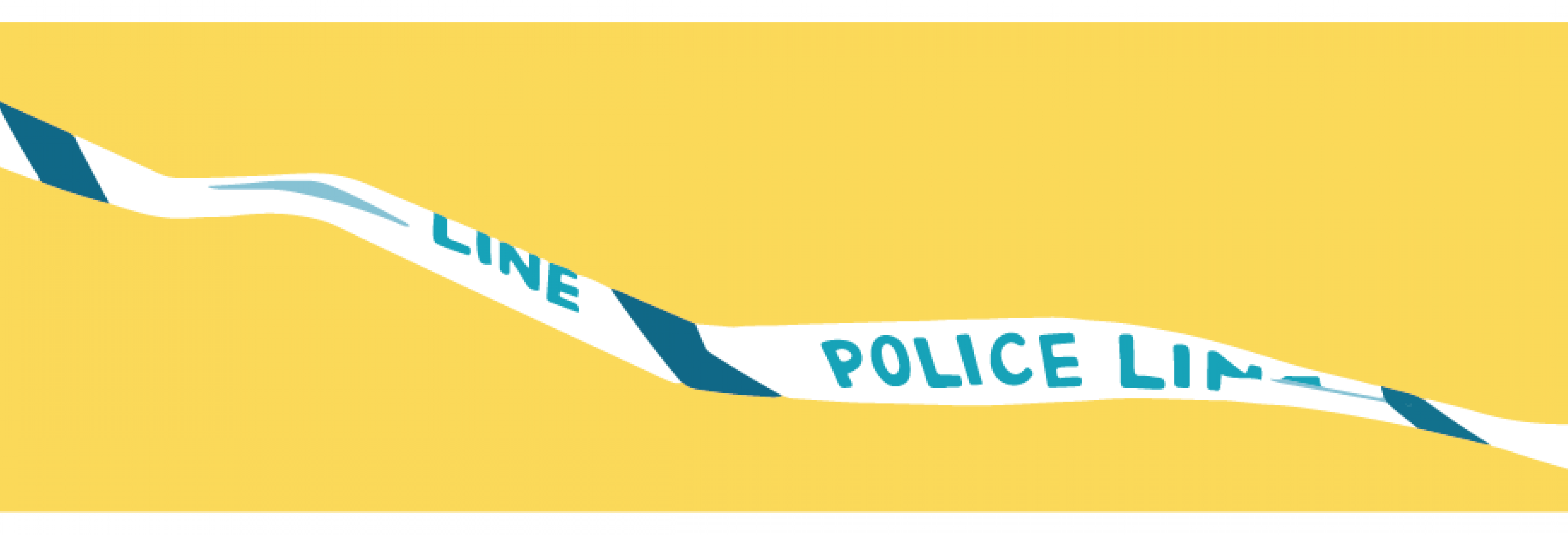 Illustration of a blue and white 'POLICE LINE' tape on a yellow background